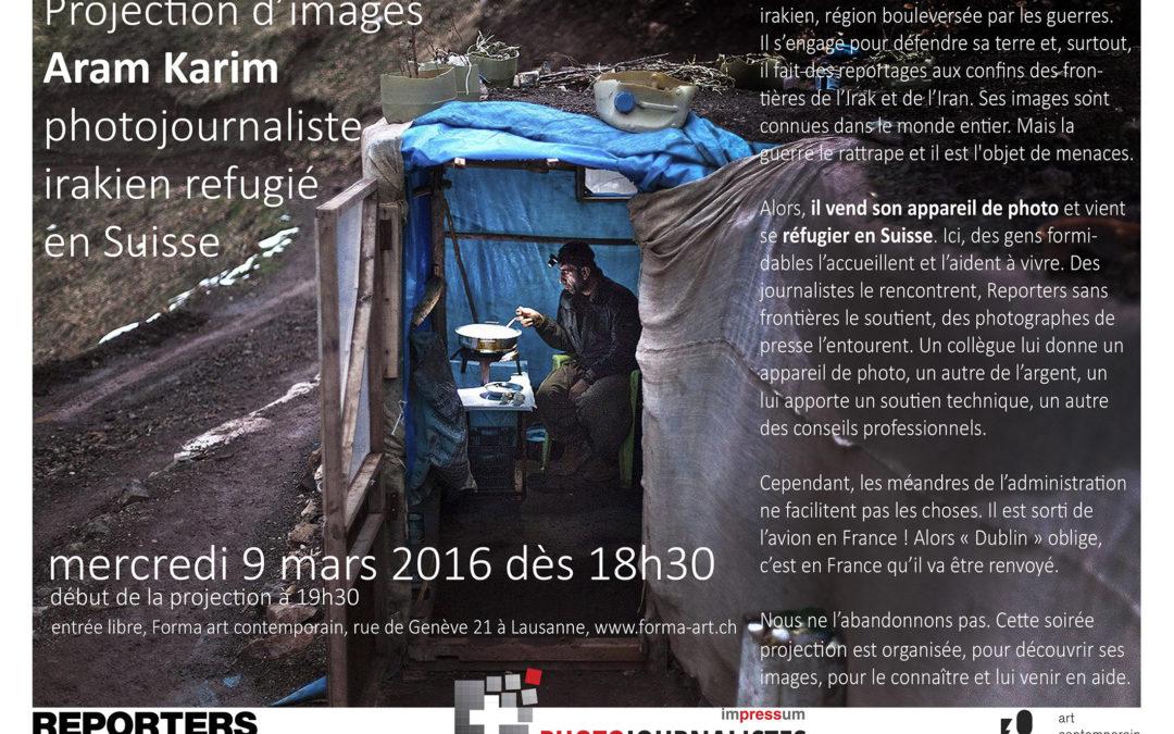 Projection photo d'Aram Karim, réfugié irakien