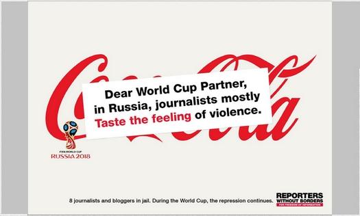 Le message de RSF aux sponsors de Russie 2018