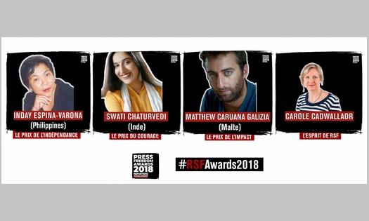 Prix RSF 2018 pour la liberté de la presse