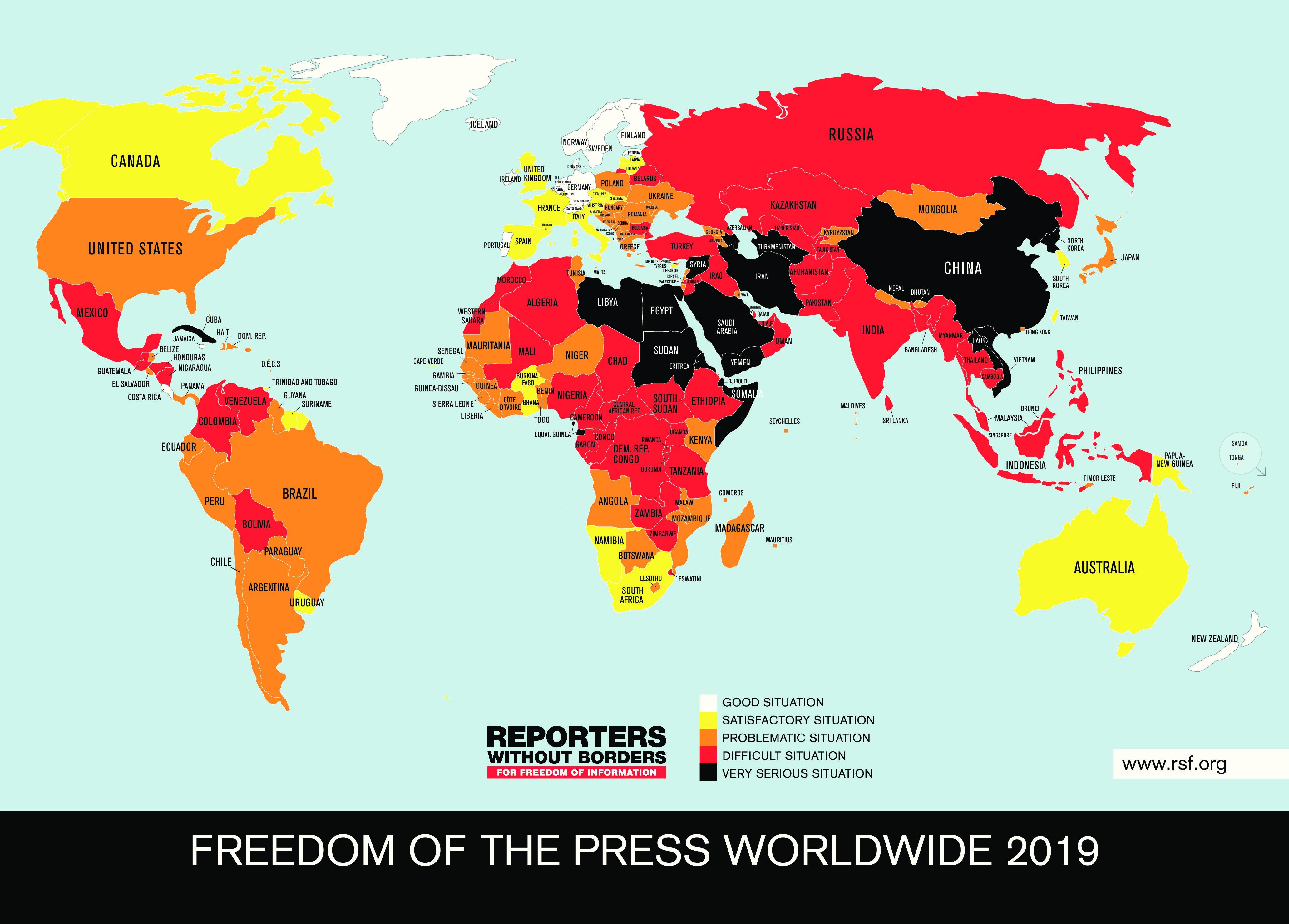 ROG-Rangliste 2019: Die Schweiz ist nach wie vor gut platziert,  doch die wirtschaftliche Situation der Medien ist alarmierend