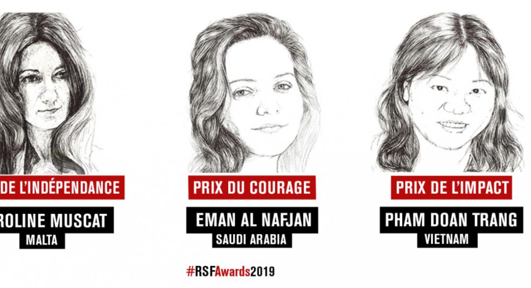 La saoudienne Eman al Nafjan, la vietnamienne Pham Doan Trang, et la maltaise Caroline Muscat, lauréates du Prix RSF 2019 pour la liberté de la presse
