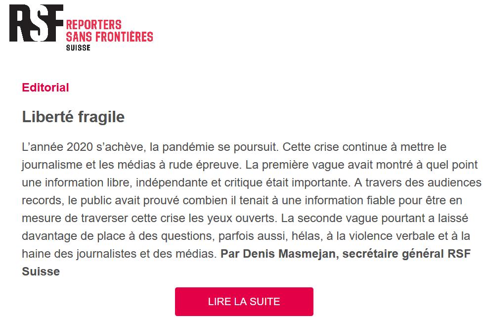 Liberté fragile: le thème de la dernière newsletter de RSF Suisse