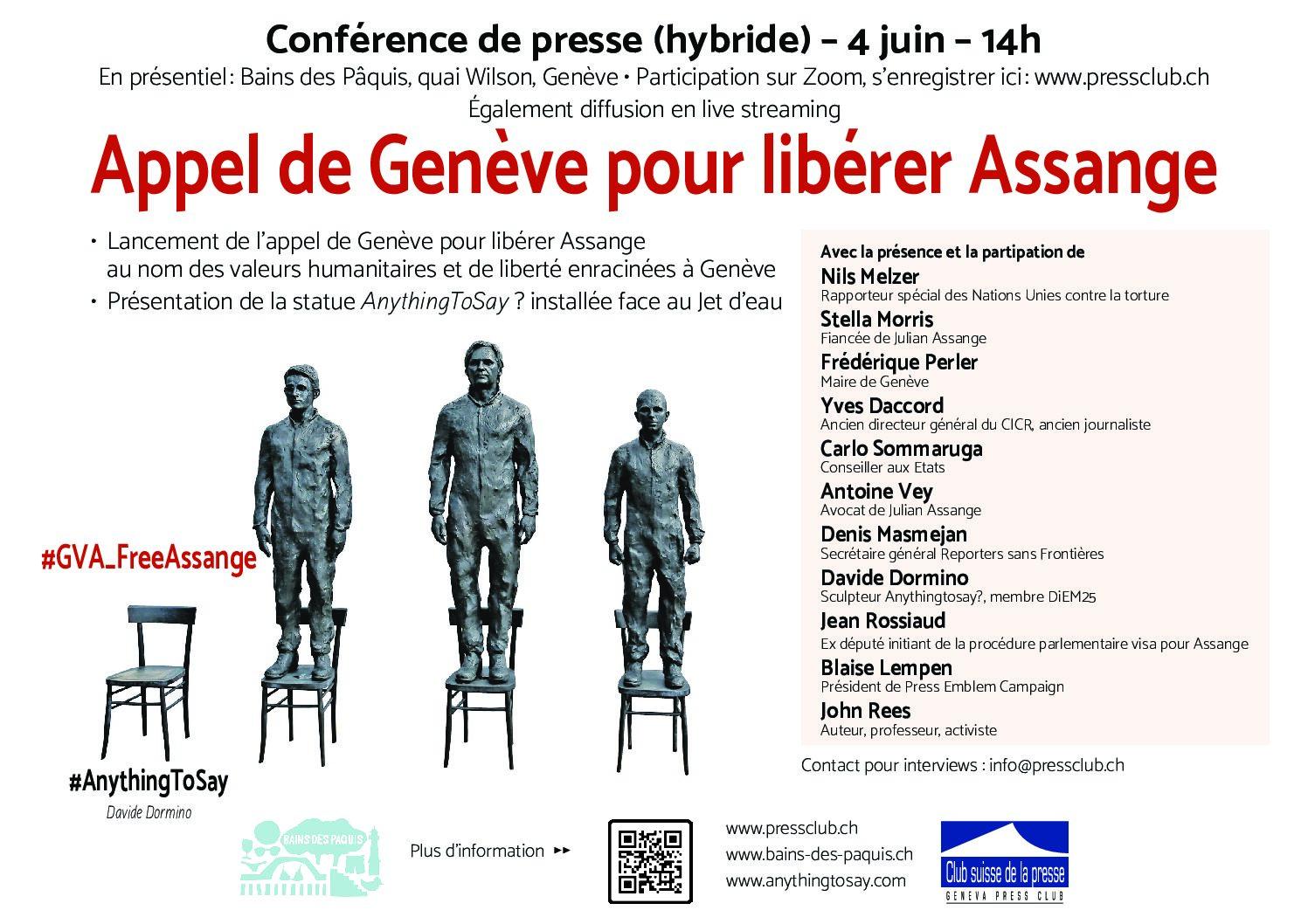 RSF s'associe à l'«Appel de Genève pour libérer Assange» lancé ce vendredi